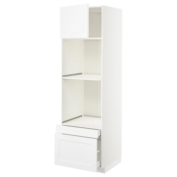 METOD / MAXIMERA Hi cab f ov/combi ov w dr/2 drwrs, white/Axstad matt white, 60x60x200 cm