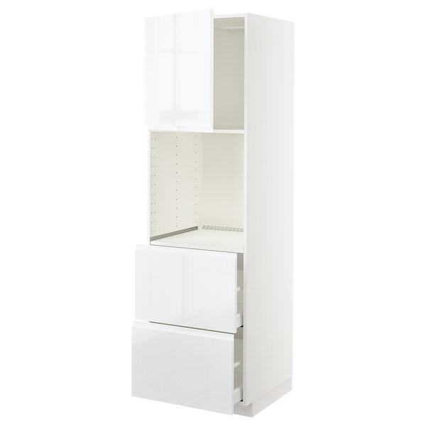 METOD / MAXIMERA Hi cab f ov w dr/2 frnts/2 hi drwrs, white/Voxtorp high-gloss/white, 60x60x200 cm