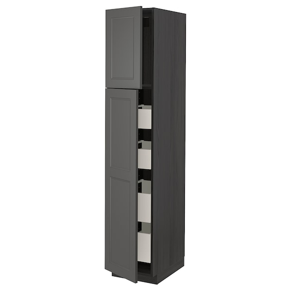 METOD / MAXIMERA Hi cab w 2 doors/4 drawers, black/Axstad dark grey, 40x60x200 cm