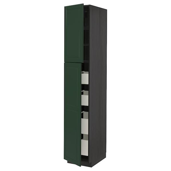 METOD / MAXIMERA Hi cab w 2 doors/4 drawers, black/Bodbyn dark green, 40x60x220 cm