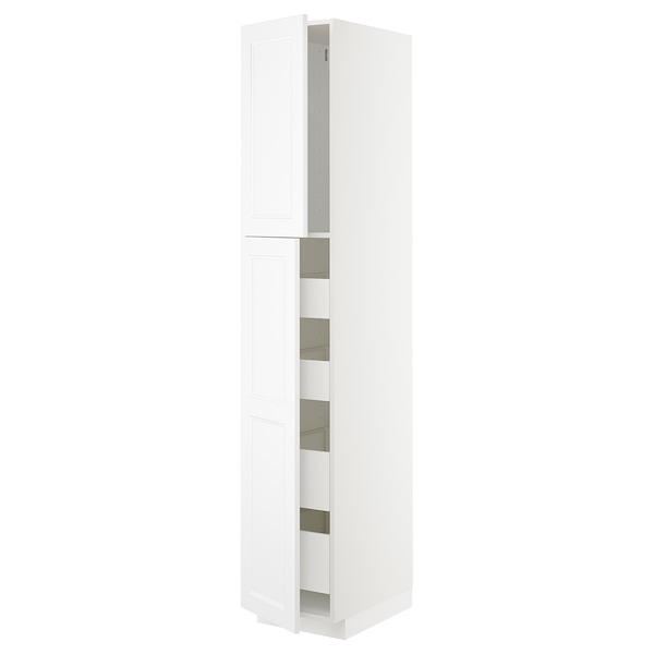 METOD / MAXIMERA Hi cab w 2 doors/4 drawers, white/Axstad matt white, 40x60x220 cm