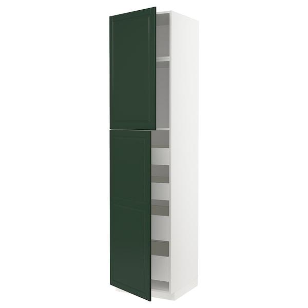 METOD / MAXIMERA Hi cab w 2 doors/4 drawers, white/Bodbyn dark green, 60x60x240 cm