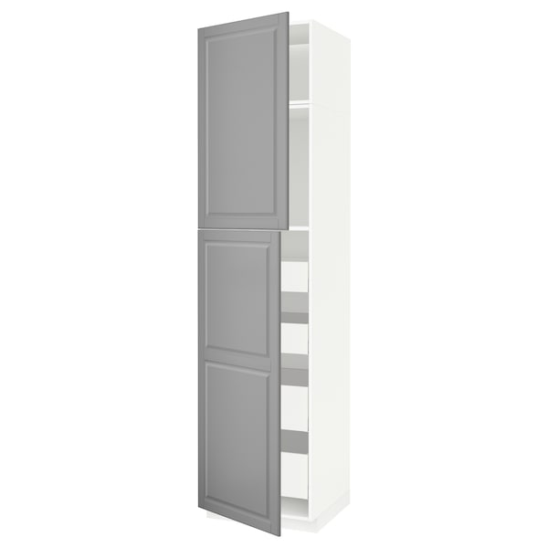 METOD / MAXIMERA Hi cab w 2 doors/4 drawers, white/Bodbyn grey, 60x60x240 cm