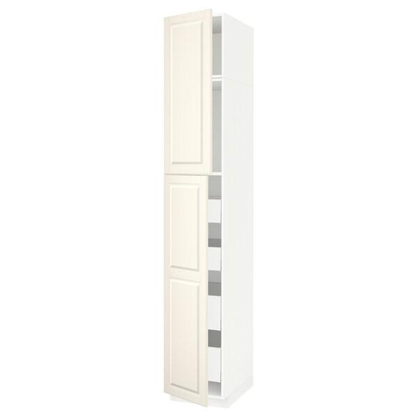 METOD / MAXIMERA Hi cab w 2 doors/4 drawers, white/Bodbyn off-white, 40x60x240 cm