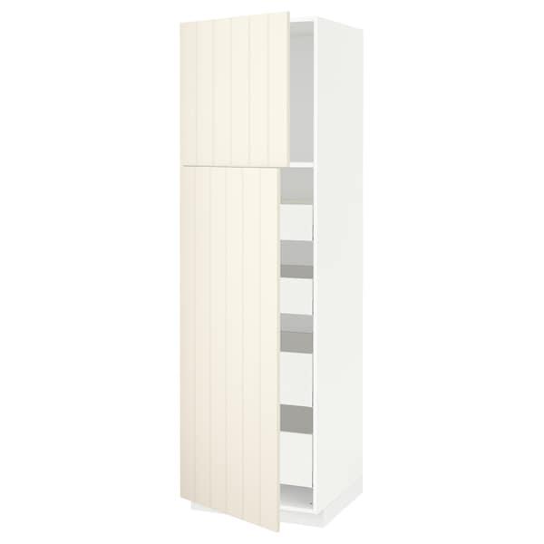 METOD / MAXIMERA Hi cab w 2 doors/4 drawers, white/Hittarp off-white, 60x60x200 cm