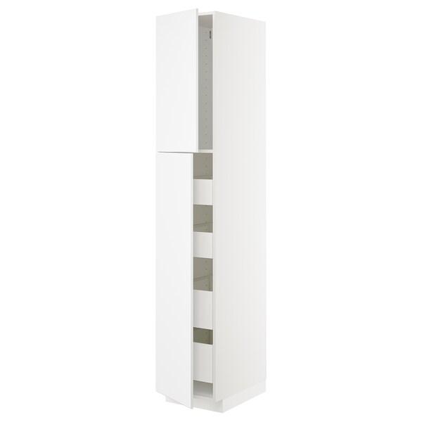 METOD / MAXIMERA Hi cab w 2 doors/4 drawers, white/Kungsbacka matt white, 40x60x220 cm
