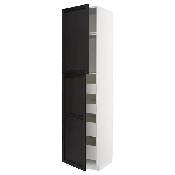 METOD / MAXIMERA Hi cab w 2 doors/4 drawers, white/Lerhyttan black stained, 60x60x240 cm
