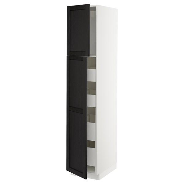 METOD / MAXIMERA Hi cab w 2 doors/4 drawers, white/Lerhyttan black stained, 40x60x200 cm