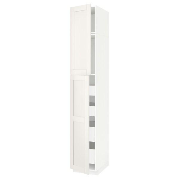 METOD / MAXIMERA Hi cab w 2 doors/4 drawers, white/Sävedal white, 40x60x240 cm