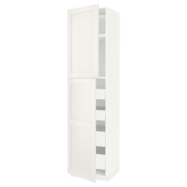 METOD / MAXIMERA Hi cab w 2 doors/4 drawers, white/Sävedal white, 60x60x240 cm