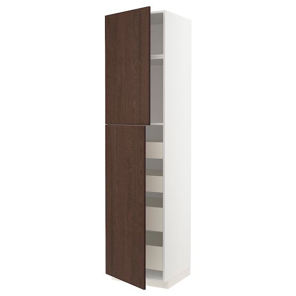 METOD / MAXIMERA Hi cab w 2 doors/4 drawers, white/Sinarp brown, 60x60x240 cm