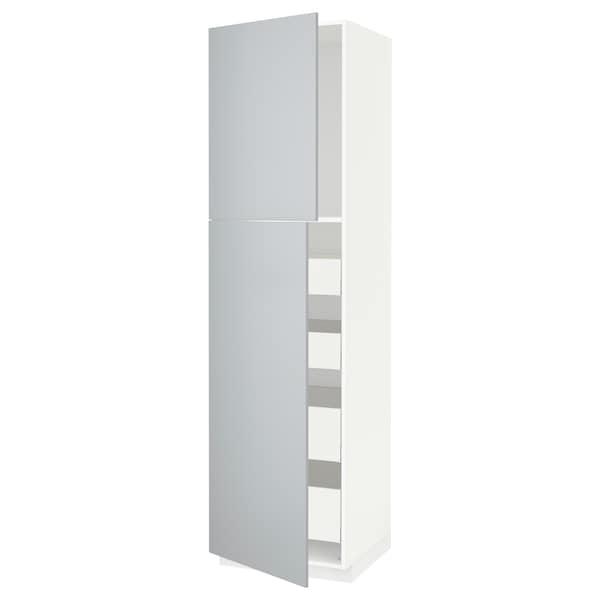 METOD / MAXIMERA Hi cab w 2 doors/4 drawers, white/Veddinge grey, 60x60x220 cm
