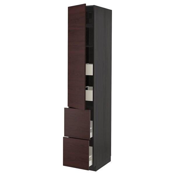 METOD / MAXIMERA Hi cab w shlvs/4 drawers/dr/2 frnts, black Askersund/dark brown ash effect, 40x60x220 cm