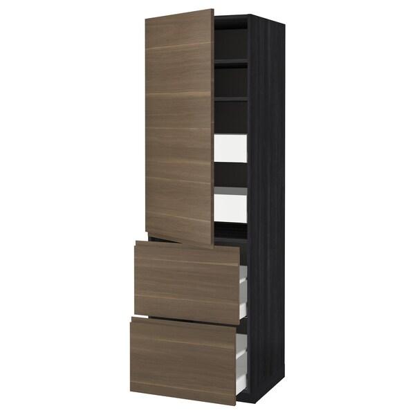 METOD / MAXIMERA Hi cab w shlvs/4 drawers/dr/2 frnts, black/Voxtorp walnut effect, 60x60x200 cm