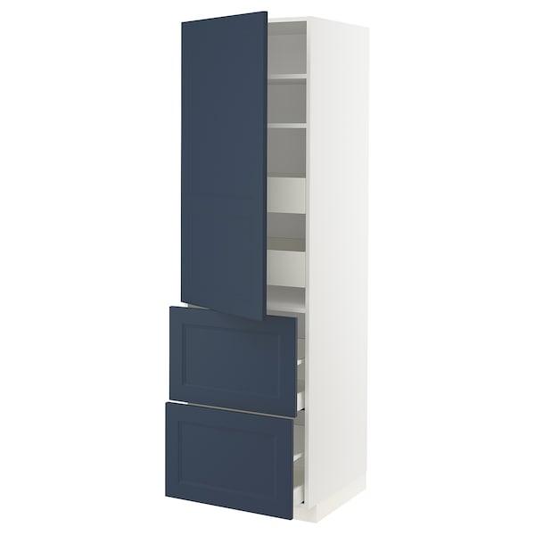 METOD / MAXIMERA Hi cab w shlvs/4 drawers/dr/2 frnts, white Axstad/matt blue, 60x60x200 cm