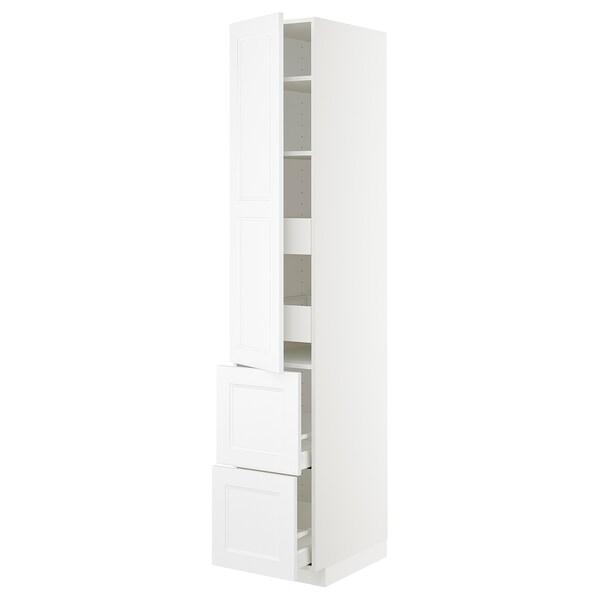 METOD / MAXIMERA Hi cab w shlvs/4 drawers/dr/2 frnts, white/Axstad matt white, 40x60x220 cm