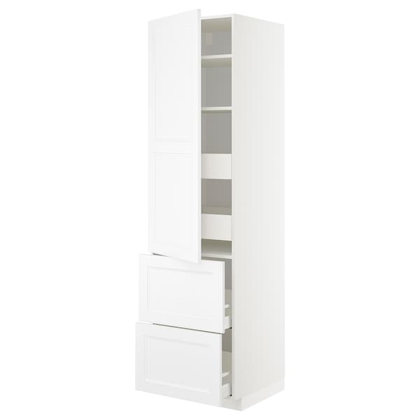 METOD / MAXIMERA Hi cab w shlvs/4 drawers/dr/2 frnts, white/Axstad matt white, 60x60x220 cm