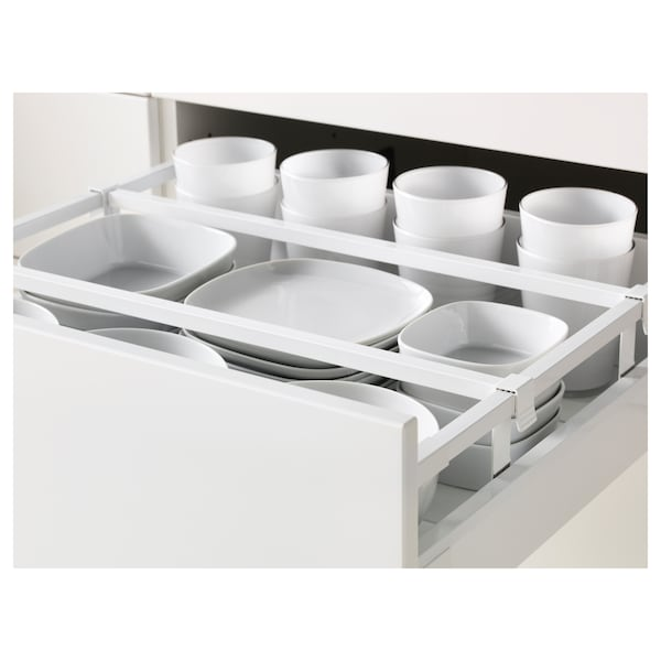 METOD / MAXIMERA Hi cab w shlvs/4 drawers/dr/2 frnts, white/Bodbyn off-white, 60x60x220 cm