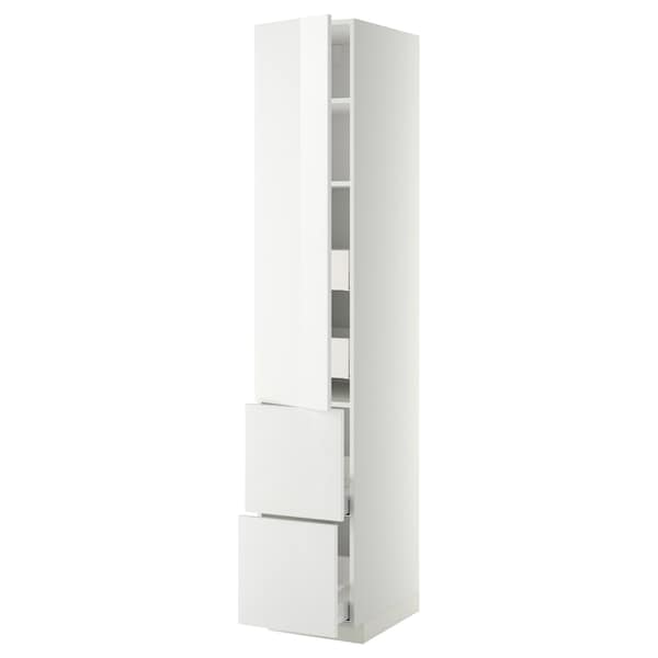 METOD / MAXIMERA Hi cab w shlvs/4 drawers/dr/2 frnts, white/Ringhult white, 40x60x220 cm