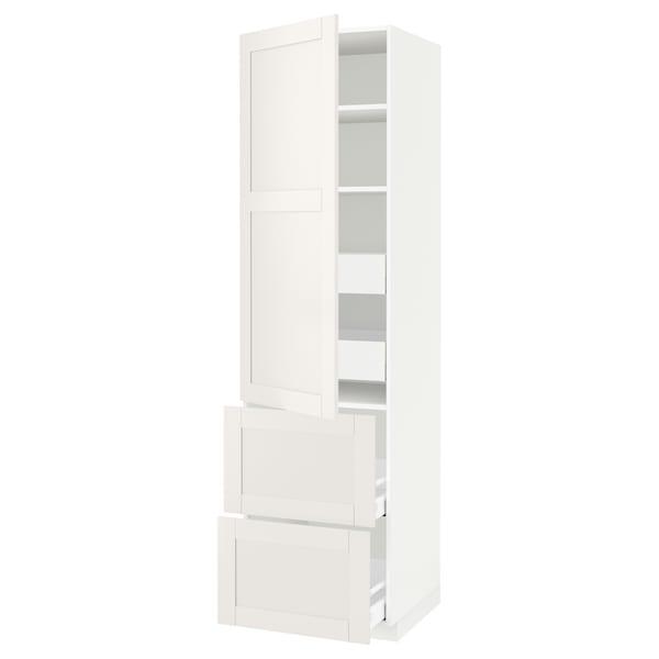 METOD / MAXIMERA Hi cab w shlvs/4 drawers/dr/2 frnts, white/Sävedal white, 60x60x220 cm