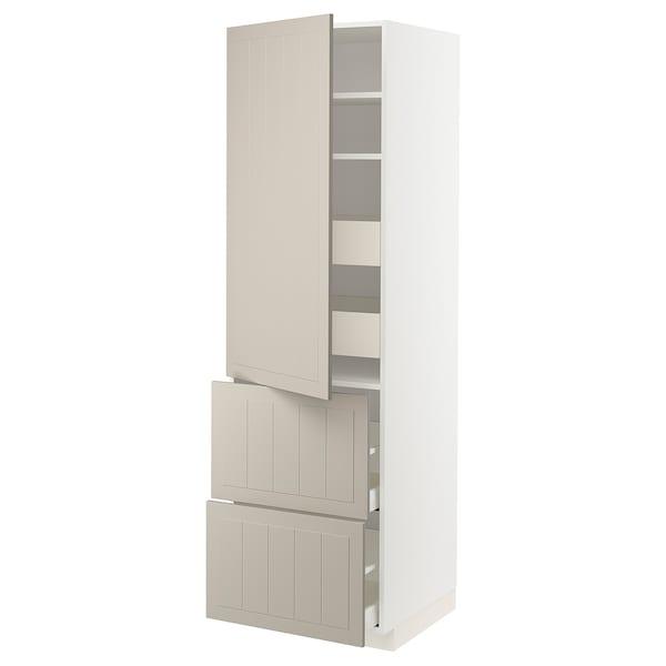 METOD / MAXIMERA Hi cab w shlvs/4 drawers/dr/2 frnts, white/Stensund beige, 60x60x200 cm