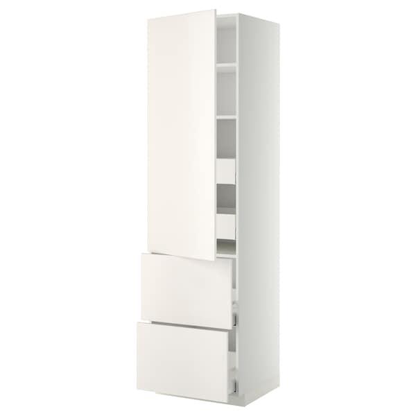 METOD / MAXIMERA Hi cab w shlvs/4 drawers/dr/2 frnts, white/Veddinge white, 60x60x220 cm