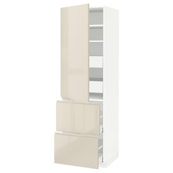 METOD / MAXIMERA Hi cab w shlvs/4 drawers/dr/2 frnts, white/Voxtorp high-gloss light beige, 60x60x200 cm