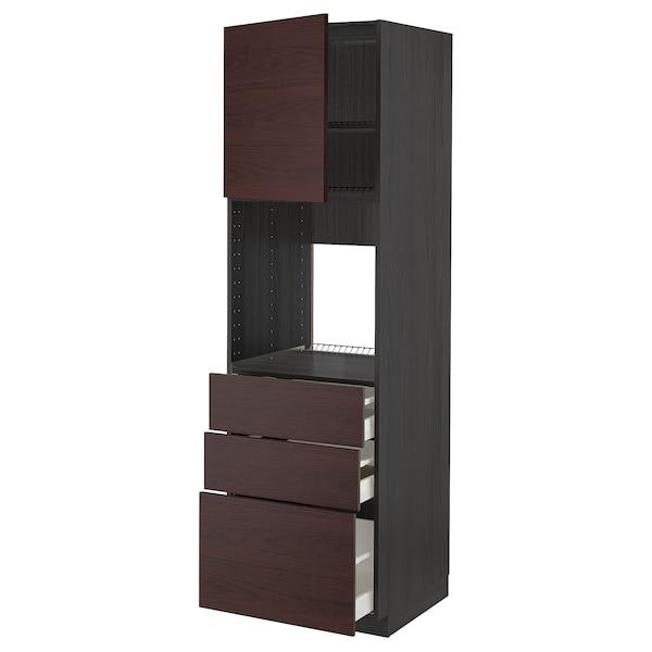 METOD / MAXIMERA High cab f oven w door/3 drawers, black Askersund/dark brown ash effect, 60x60x200 cm