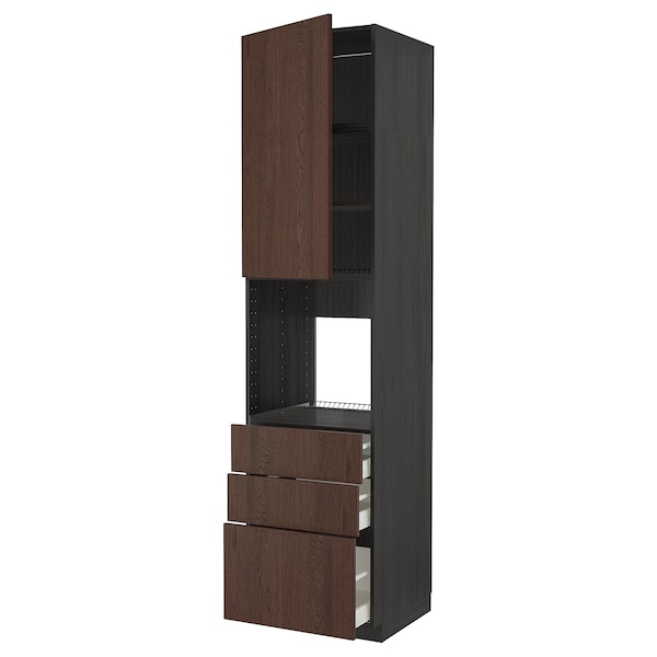 METOD / MAXIMERA High cab f oven w door/3 drawers, black/Sinarp brown, 60x60x240 cm