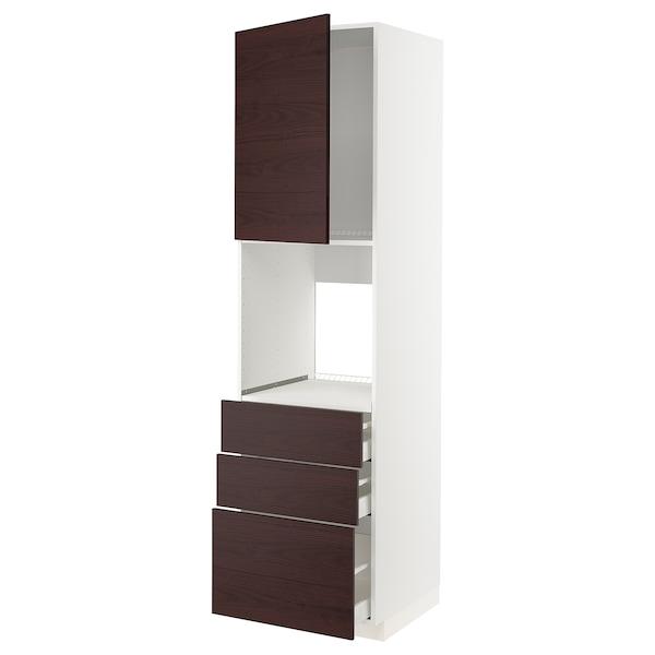 METOD / MAXIMERA High cab f oven w door/3 drawers, white Askersund/dark brown ash effect, 60x60x220 cm