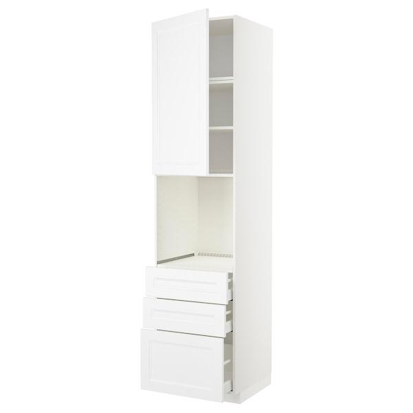 METOD / MAXIMERA High cab f oven w door/3 drawers, white/Axstad matt white, 60x60x240 cm