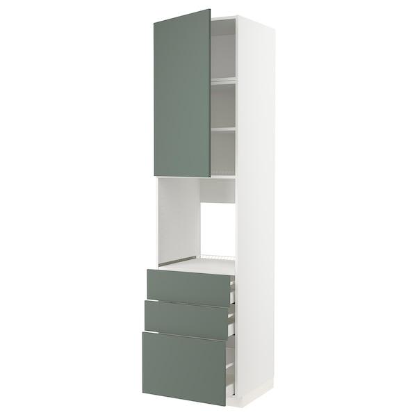 METOD / MAXIMERA High cab f oven w door/3 drawers, white/Bodarp grey-green, 60x60x240 cm