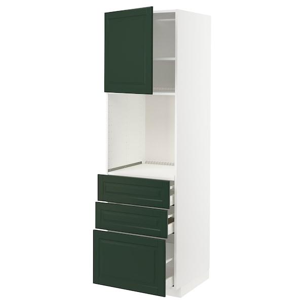 METOD / MAXIMERA High cab f oven w door/3 drawers, white/Bodbyn dark green, 60x60x200 cm