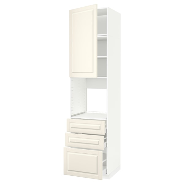 METOD / MAXIMERA High cab f oven w door/3 drawers, white/Bodbyn off-white, 60x60x240 cm
