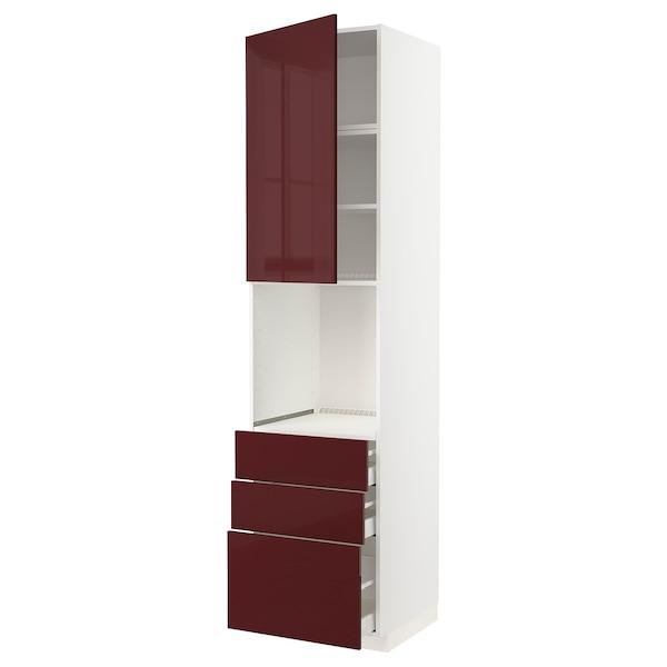 METOD / MAXIMERA High cab f oven w door/3 drawers, white Kallarp/high-gloss dark red-brown, 60x60x240 cm