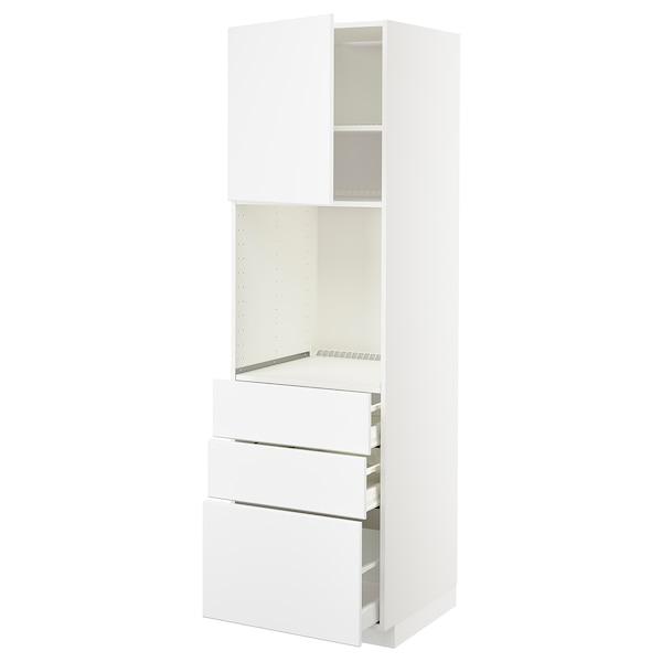 METOD / MAXIMERA High cab f oven w door/3 drawers, white/Kungsbacka matt white, 60x60x200 cm