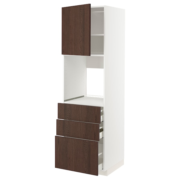 METOD / MAXIMERA High cab f oven w door/3 drawers, white/Sinarp brown, 60x60x200 cm