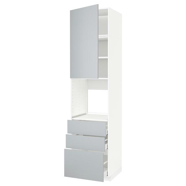 METOD / MAXIMERA High cab f oven w door/3 drawers, white/Veddinge grey, 60x60x240 cm