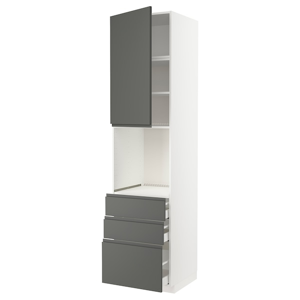 METOD / MAXIMERA High cab f oven w door/3 drawers, white/Voxtorp dark grey, 60x60x240 cm