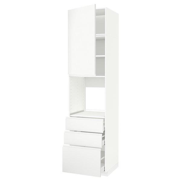 METOD / MAXIMERA High cab f oven w door/3 drawers, white/Voxtorp matt white, 60x60x240 cm