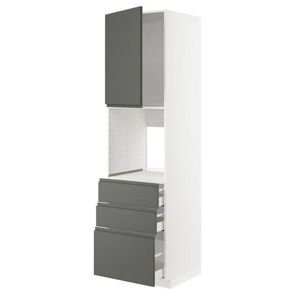 METOD / MAXIMERA high cab f oven w door/3 drawers white/Voxtorp dark grey 60.0 cm 62.1 cm 228.0 cm 60.0 cm 220.0 cm