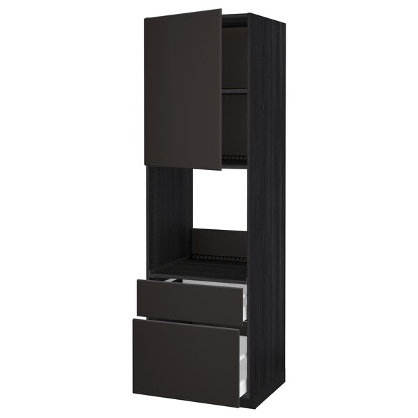 METOD / MAXIMERA High cabinet f oven+door/2 drawers, black/Kungsbacka anthracite, 60x60x200 cm