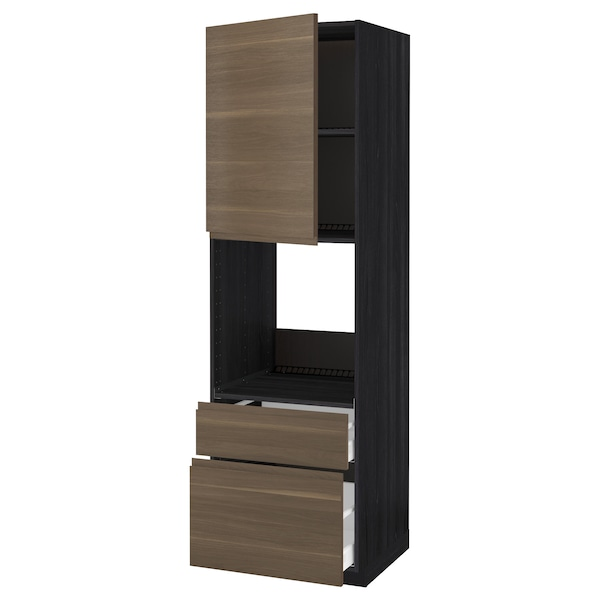 METOD / MAXIMERA High cabinet f oven+door/2 drawers, black/Voxtorp walnut effect, 60x60x200 cm