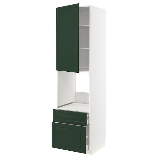 METOD / MAXIMERA High cabinet f oven+door/2 drawers, white/Bodbyn dark green, 60x60x220 cm