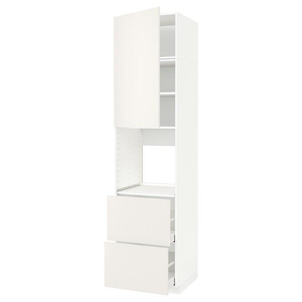 METOD / MAXIMERA high cabinet f oven+door/2 drawers white/Veddinge white 60.0 cm 61.6 cm 248.0 cm 60.0 cm 240.0 cm
