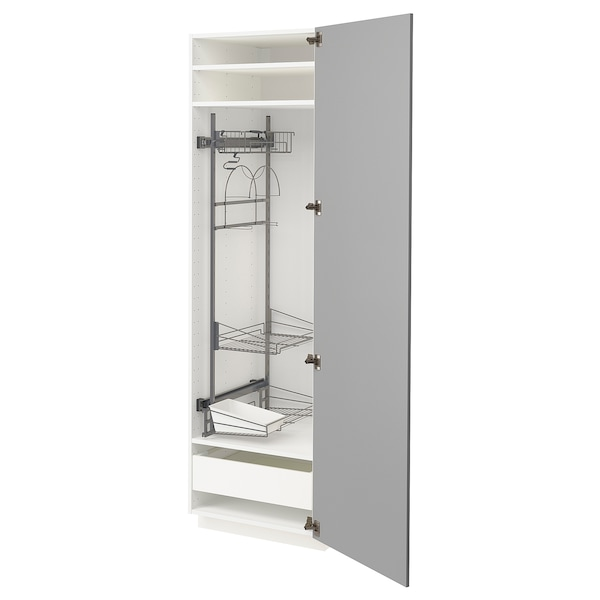 METOD / MAXIMERA High cabinet with cleaning interior, white/Bodbyn grey, 60x60x200 cm