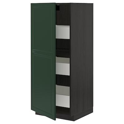 METOD / MAXIMERA High cabinet with drawers, black/Bodbyn dark green, 60x60x140 cm