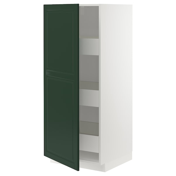 METOD / MAXIMERA High cabinet with drawers, white/Bodbyn dark green, 60x60x140 cm