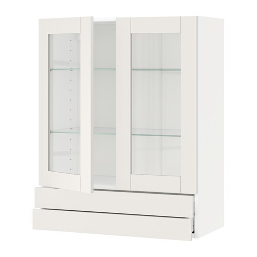 IKEA METOD/MAXIMERA wall cab w 2 glass doors/2 drawers Sturdy frame construction, 18 mm thick.
