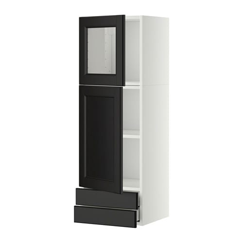 IKEA METOD/MAXIMERA wall cab w door/glass door/2 drwrs Sturdy frame construction, 18 mm thick.